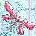 Inspirational Dragonfly Floral Art Inspiring Art Quote Be Passionate By Megan Duncanson by Megan Duncanson