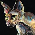 Intense Sphinx Sphynx Cat Art Painting by Svetlana Novikova