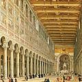 Interior Of San Paolo Fuori Le Mura by Giovanni Paolo Panini