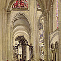 Interior Of The Cathedral Of St. Etienne, Sens by Jean Baptiste Camille Corot