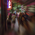 International Cafe Neon Sign And Street Scene At Night Santa Monica Ca Portrait by Scott Campbell