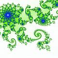 Intricate Green Blue Fractal Based On Julia Set by Stephan Pietzko