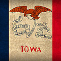 Iowa State Flag Art on Worn Canvas by Design Turnpike