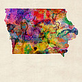Iowa Watercolor Map by Michael Tompsett