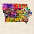 Iowa Watercolor Map by Michael Tompsett