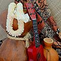 Ipu Heke And Red Ukulele With White Satin Lei by Mary Deal