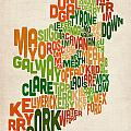 Ireland Eire County Text Map by Michael Tompsett