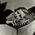 Irene Dunne Lying Down On A Zebra Print Pillow by Lusha Nelson