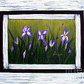 Irises And Old Boards - Weathered Wood by Barbara Griffin