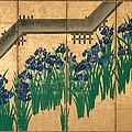 Irises At Yatsuhashi. Eight Bridges by Ogata Korin