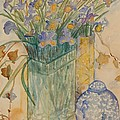 Irises With Chinese Pot by Caroline Street