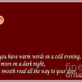 Irish Blessing - Full Moon - Greeting  - Red by Barbara Griffin