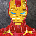 Iron Man Superhero Vintage Recycled License Plate Art Portrait by Design Turnpike