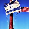 Israeli Flag And Us Flag by Thomas R Fletcher