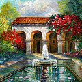 Italian Abbey Garden Scene With Fountain by Regina Femrite