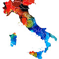 Italy - Italian Map By Sharon Cummings by Sharon Cummings