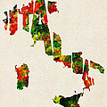 Italy Typographic Watercolor Map by Inspirowl Design