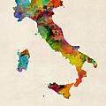 Italy Watercolor Map Italia by Michael Tompsett