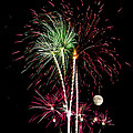 Its Raining Red Drops On The Red Flowers - Fireworks And Moon by Penny Lisowski