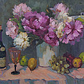 J. P. Chenet And Peonies by Diane McClary