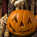 Jack-o-lantern And Indian Corn  by Garry Gay