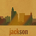 Jackson Mississippi City Skyline Watercolor On Parchment by Design Turnpike