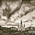 Jackson Square And St. Louis Cathedral In Black And White - New Orleans Louisiana by Silvio Ligutti