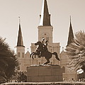 Jackson Square Statue In Sepia by Carol Groenen