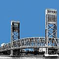 Jacksonville Skyline 2  Main Street Bridge - Slate Blue by DB Artist
