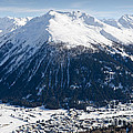 Jakobshorn Davos Mountains And Town Switzerland by Andy Smy