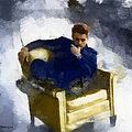 James Dean In Yellow Leather Chair by Paulette B Wright