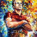 James Dean - Palette Knife Oil Painting On Canvas By Leonid Afremov by Leonid Afremov