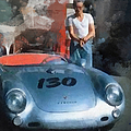 James Dean With His Spyder by Paulette B Wright