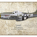 Janie P-51d Mustang - Map Background by Craig Tinder