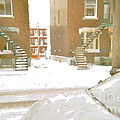 January Winter Street Winding Snow Covered Staircase Montreal Art Verdun Duplex Painting Cspandau by Carole Spandau