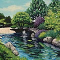 Japanese Garden Fountain View by Penny Birch-Williams