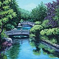 Japanese Garden Two Bridges by Penny Birch-Williams