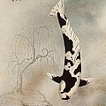 Japanese Koi Utsuri Mono Willow Painting  by Gordon Lavender