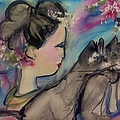 Japanese Lady And Felines by Judith Desrosiers