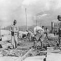 Japanese Soldiers Repair Street Car by Everett