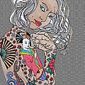 Japanese Tat Girl Grey  by Karen Larter