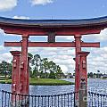 Japanese Torri Gate At Epcot by Tom Doud