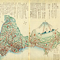 Japanese Wood Block Map Showing Mt Fuji 1830s by MotionAge Designs