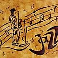 Jazz Coffee Painting by Georgeta  Blanaru