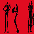 Jazz Trio In Red 2 by Rhodes Rumsey
