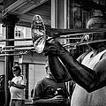 Jazzy Trombone Music-bw by Kathleen K Parker