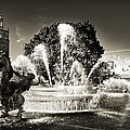 Jc Nichols Memorial Fountain Bw 1 by Andee Design