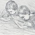 Jean Pierre Hoschede And Michel Monet by Claude Monet
