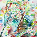 Jerry Garcia Playing The Guitar Watercolor Portrait.2 by Fabrizio Cassetta