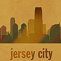 Jersey City New Jersey City Skyline Watercolor On Parchment by Design Turnpike